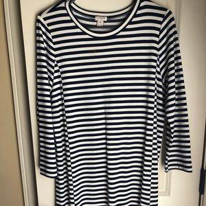 J. Crew navy striped dress